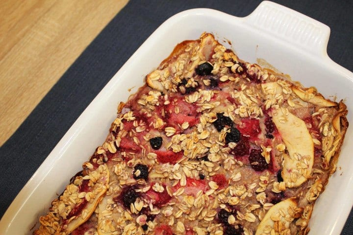 This baked oatmeal recipe tastes great with this goat milk recipe.