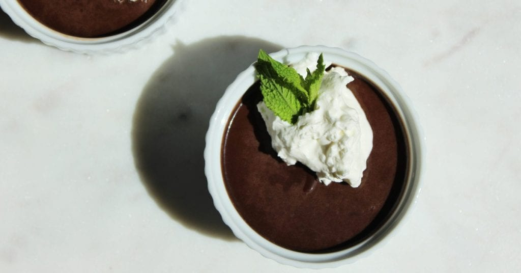 Chocolate mint mousse made with goat milk
