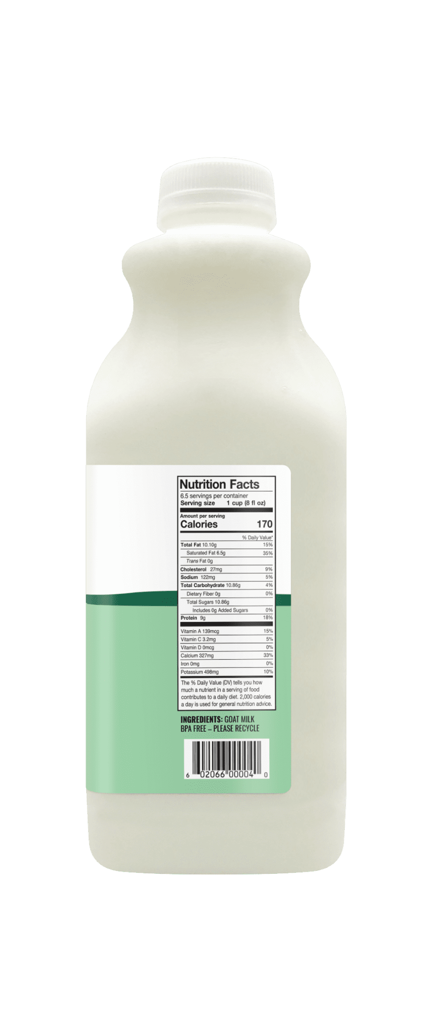 Summerhill Dairy goat milk 52oz nutrition facts