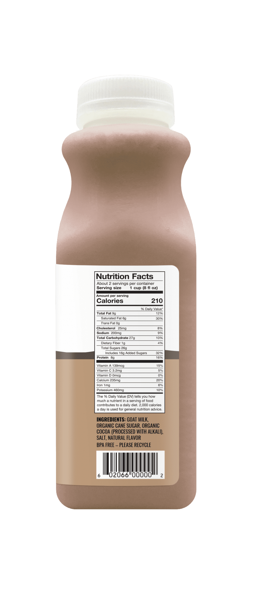 Chocolate goat milk 14oz nutrition facts