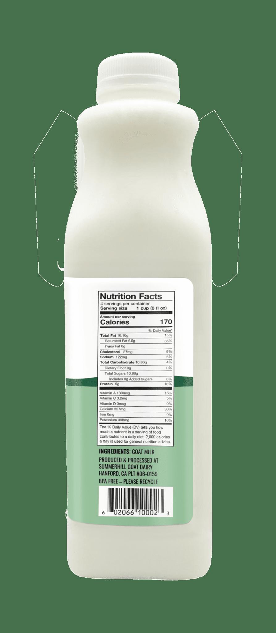 Summerhill dairy goat milk 32oz nutrition facts