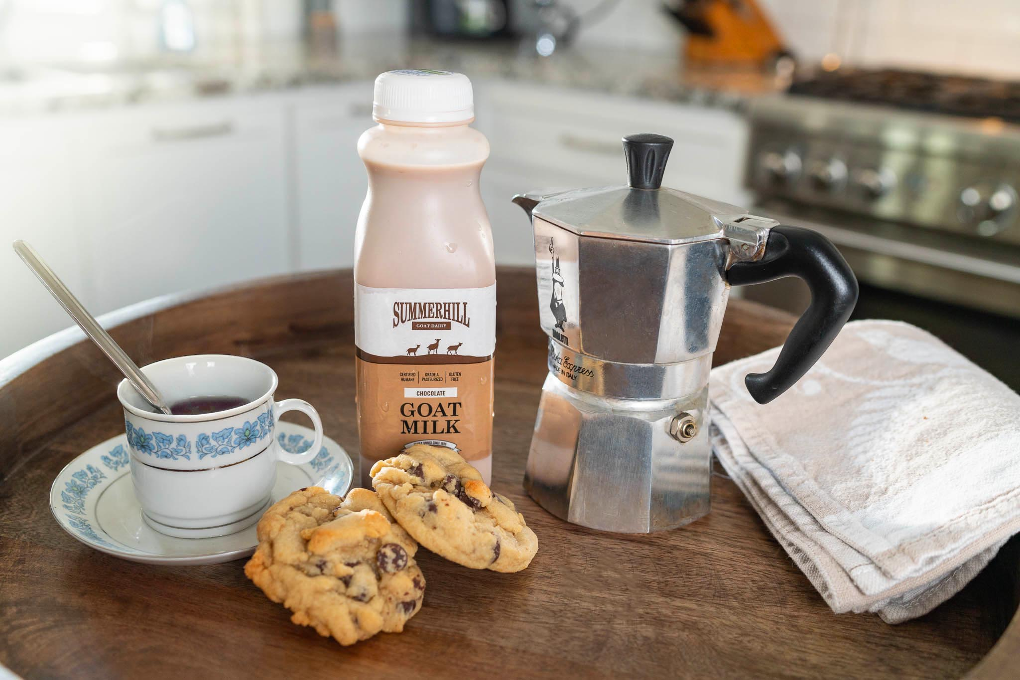 Chocolate Goat Milk Coffee and Cookies